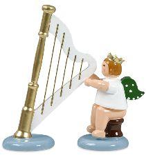 sitzender Musikantenengel mit Krone und Harfe