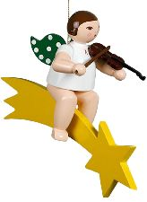 Großer Musikantenengel auf Sternschnuppe mit Geige