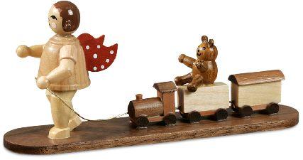 naturfarbener Weihnachtsengel mit Eisenbahn und Bär