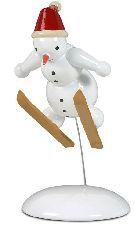 Schneemann als Skispringer