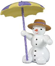 Schneemann, sitzend mit Schirm