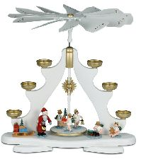 Große Pyramide mit Weihnachtsmann mit Engel für Teelichter